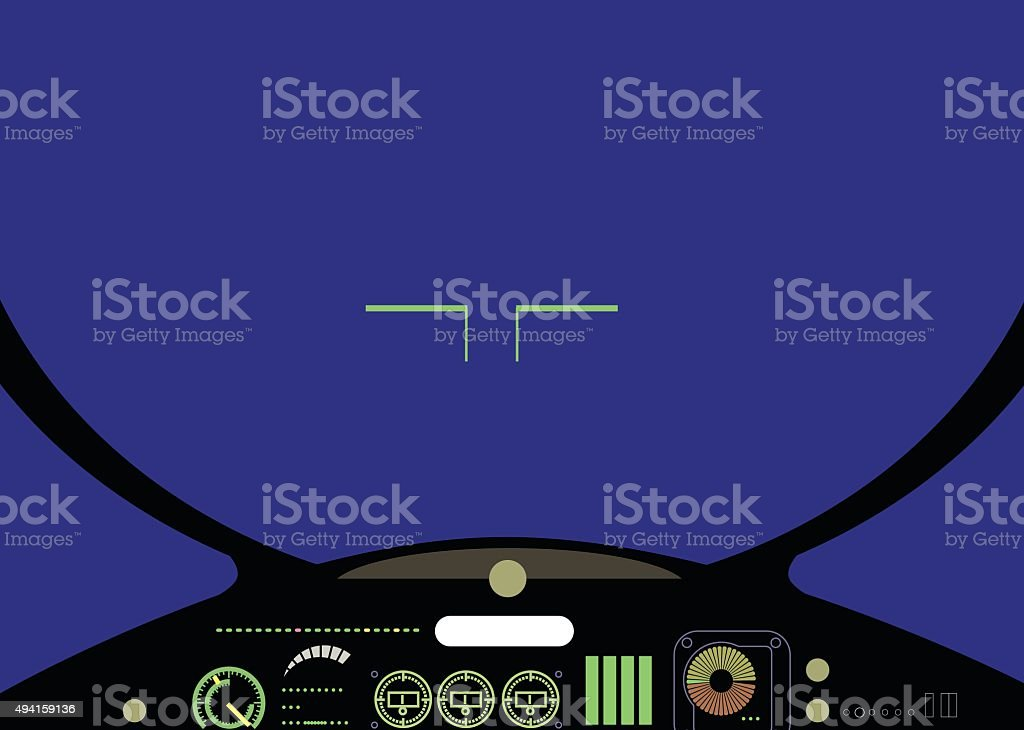 Fighter cockpit. Vector vector art illustration