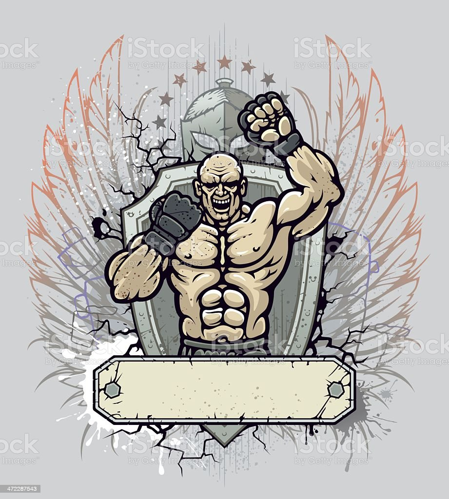 MMA fighter crest royalty-free stock vector art