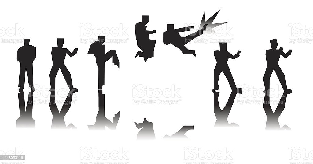 fighter executing a flying kick in sequence vector art illustration