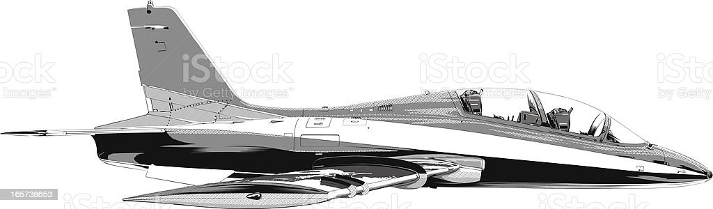 Fighter jet plane flying vector art illustration