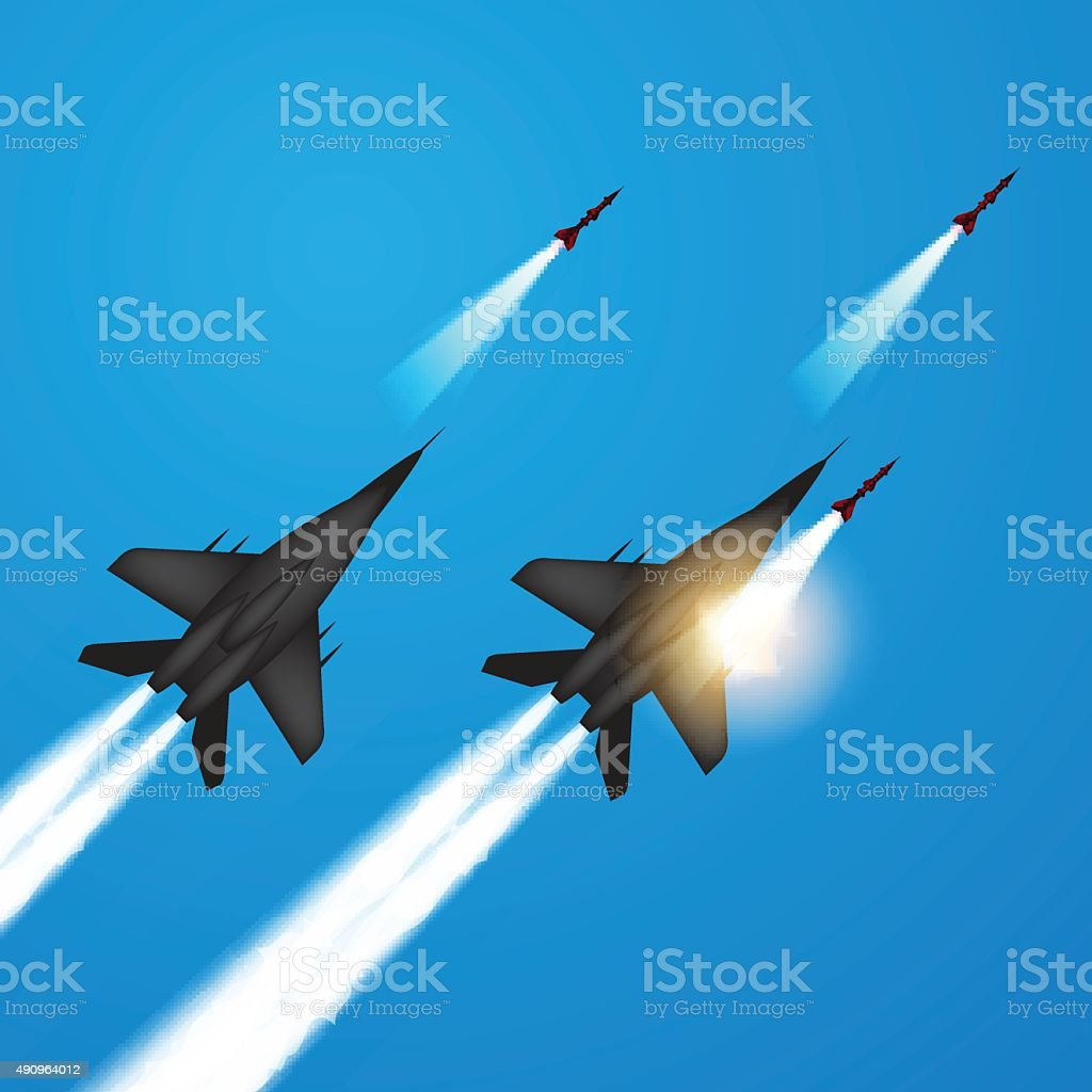 Fighter jets fired a missiles vector art illustration