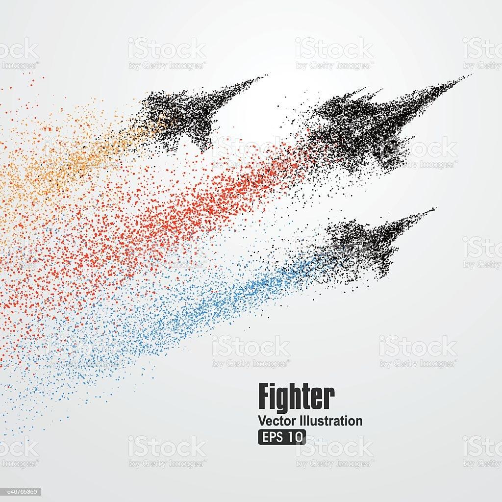 Fighter particles, symbol vector illustration of rapid development. vector art illustration