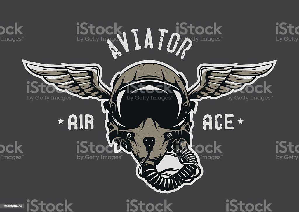 Fighter Pilot Helmet. vector art illustration
