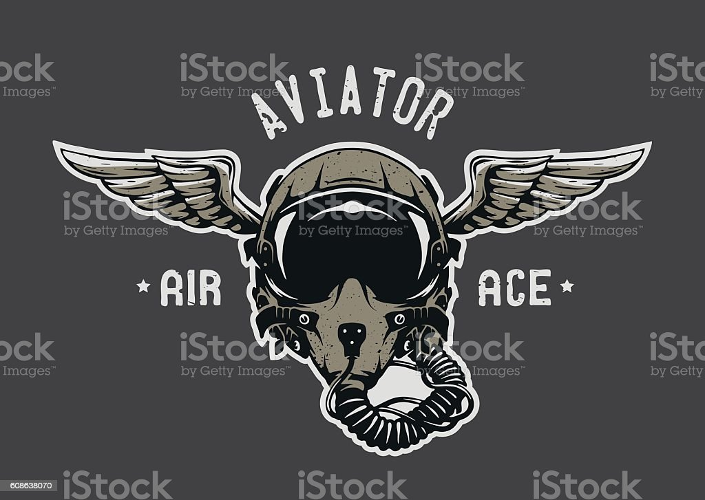 Fighter Pilot Helmet. vector art illustration