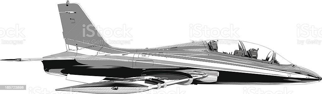 Fighter plane in flight vector art illustration