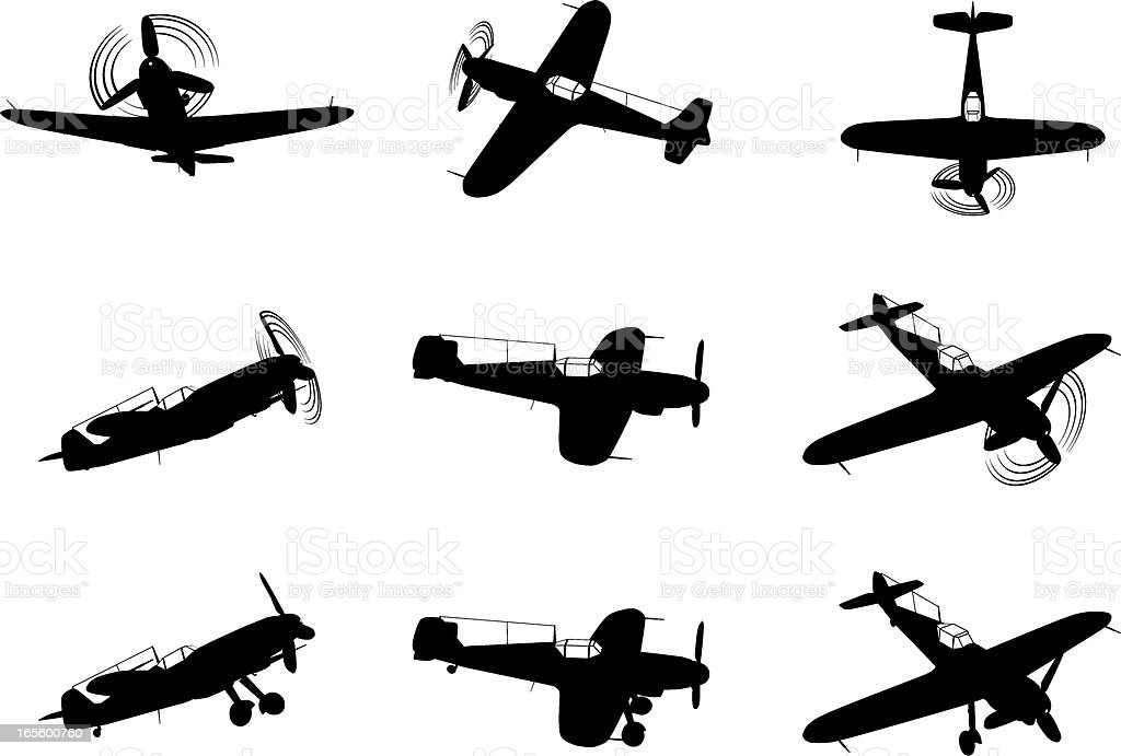 fighter plane silhouettes royalty-free stock vector art