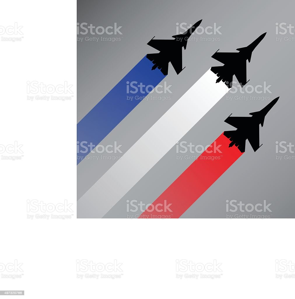 Fighter planes with the flag of France vector vector art illustration