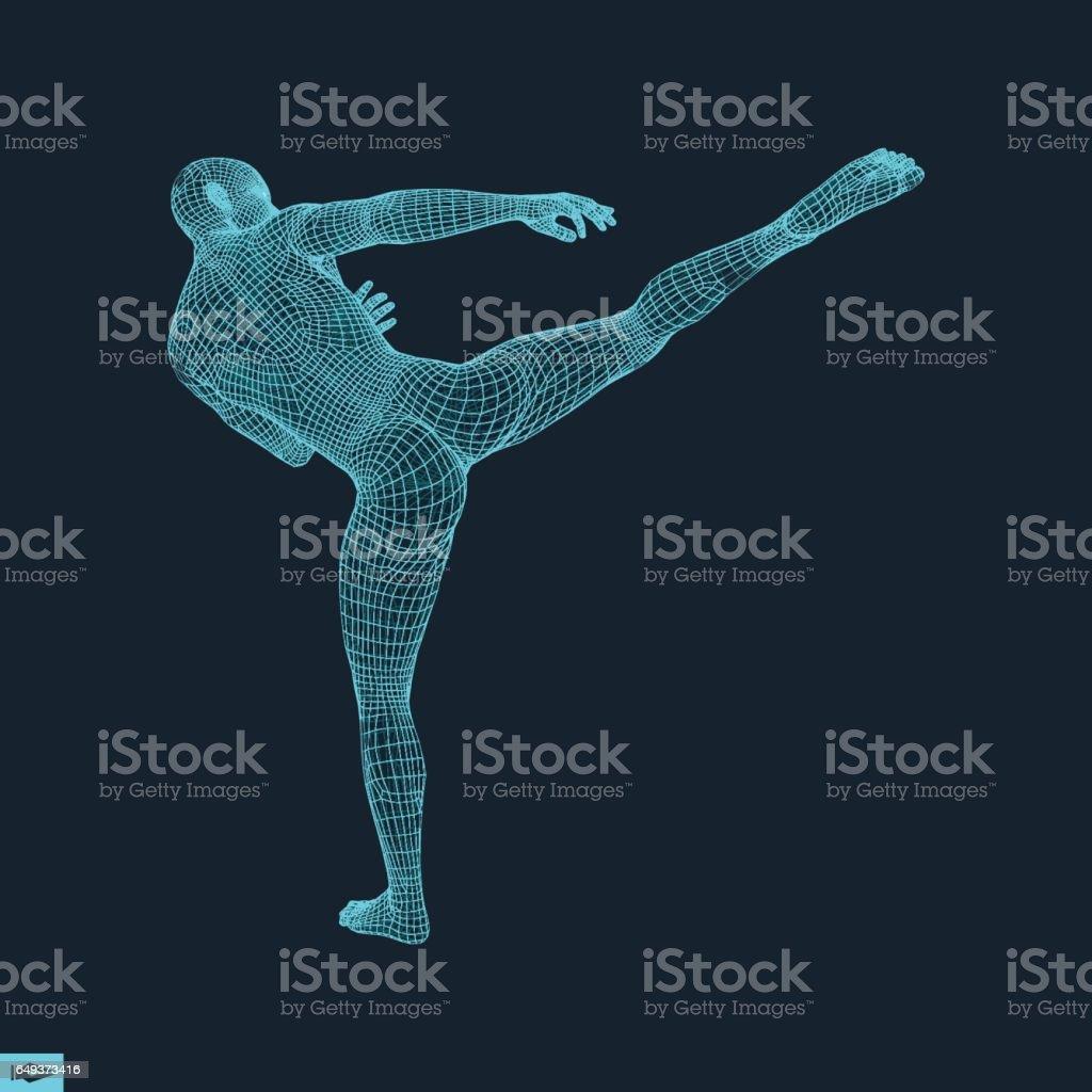 Fighter. Sports concept. 3D Model of Man. Sport Symbol. vector art illustration