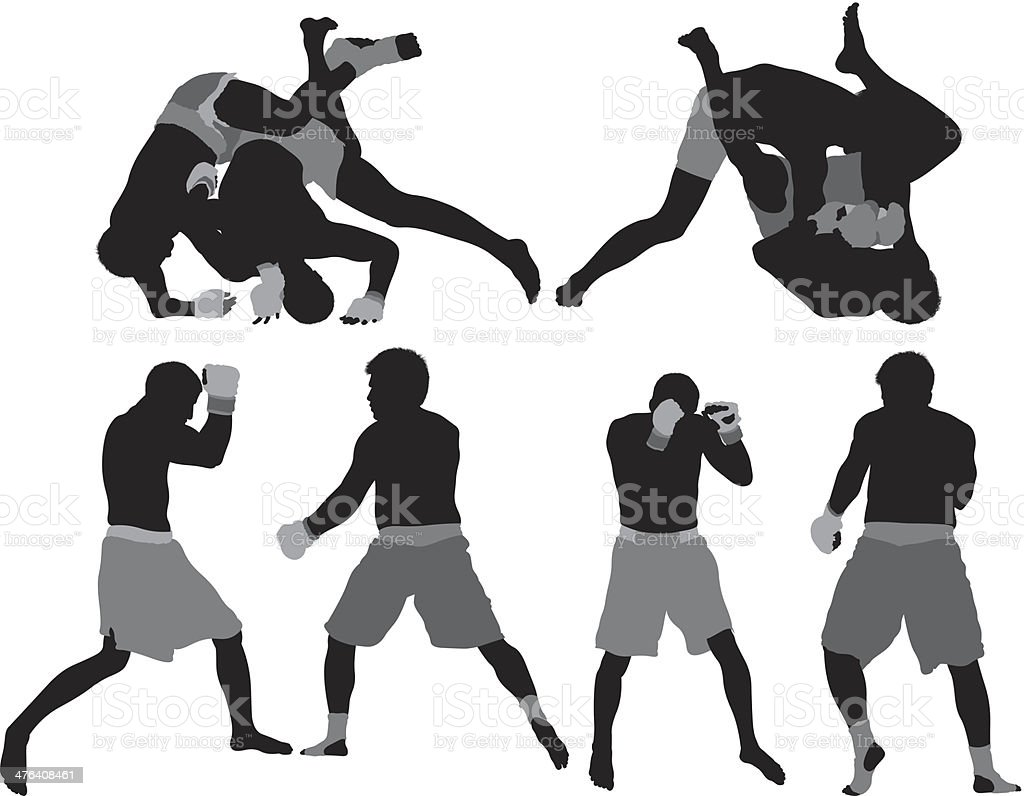 MMA fighters in action royalty-free stock vector art