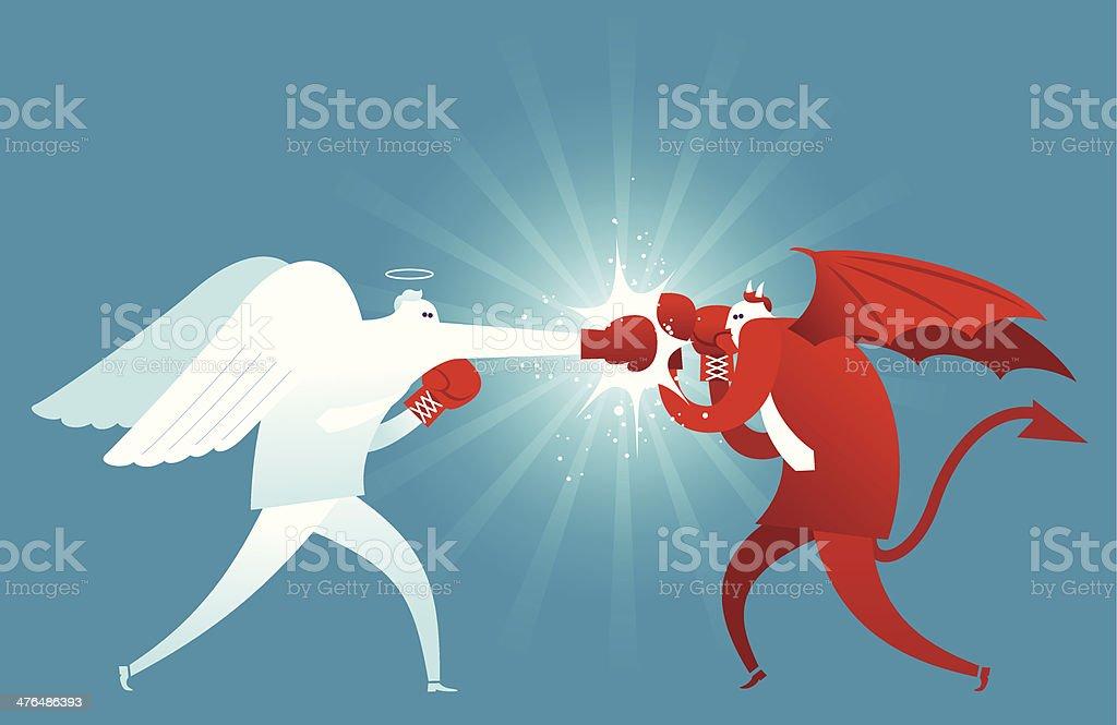 Fighting Against Evil vector art illustration
