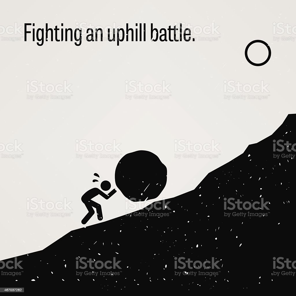 Fighting an Uphill Battle vector art illustration