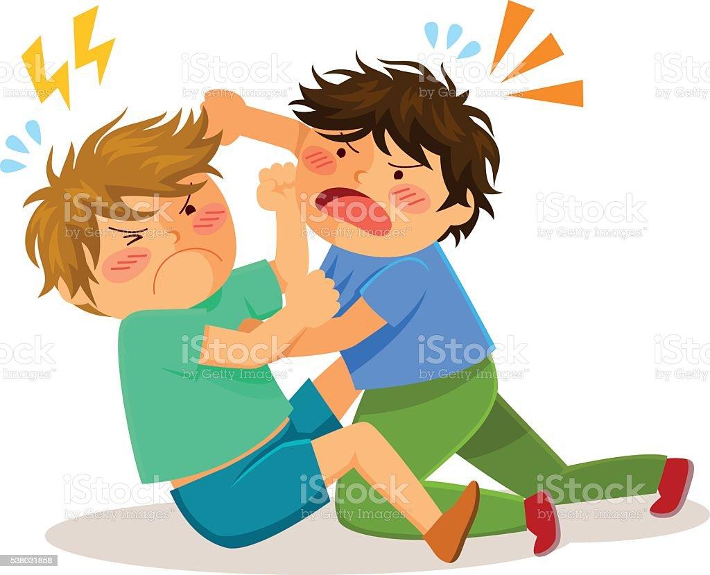 fighting boys vector art illustration