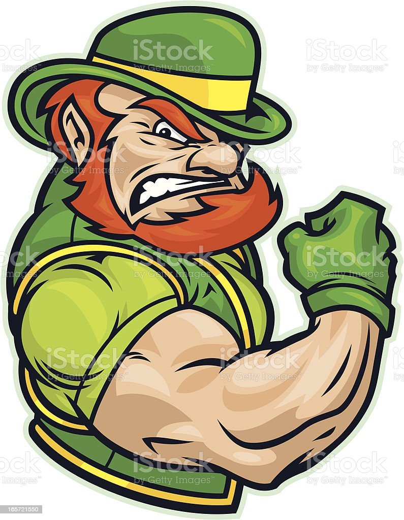 Fighting Irish Flexing vector art illustration