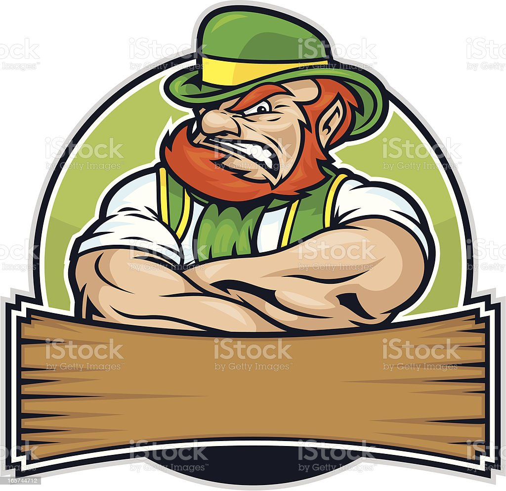 Fighting Irish Leprechaun vector art illustration