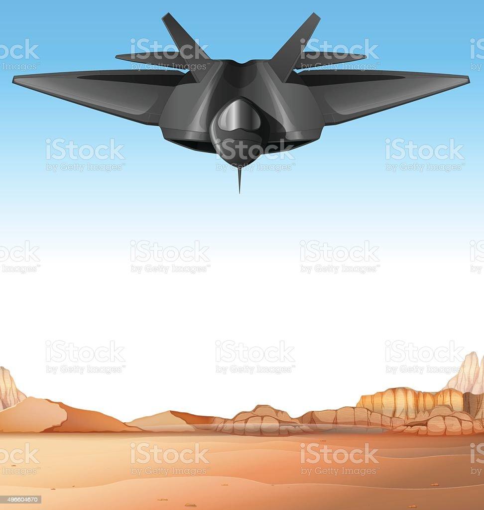 Fighting jet flying over the battle field vector art illustration