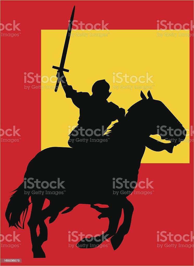 Fighting Knight vector art illustration