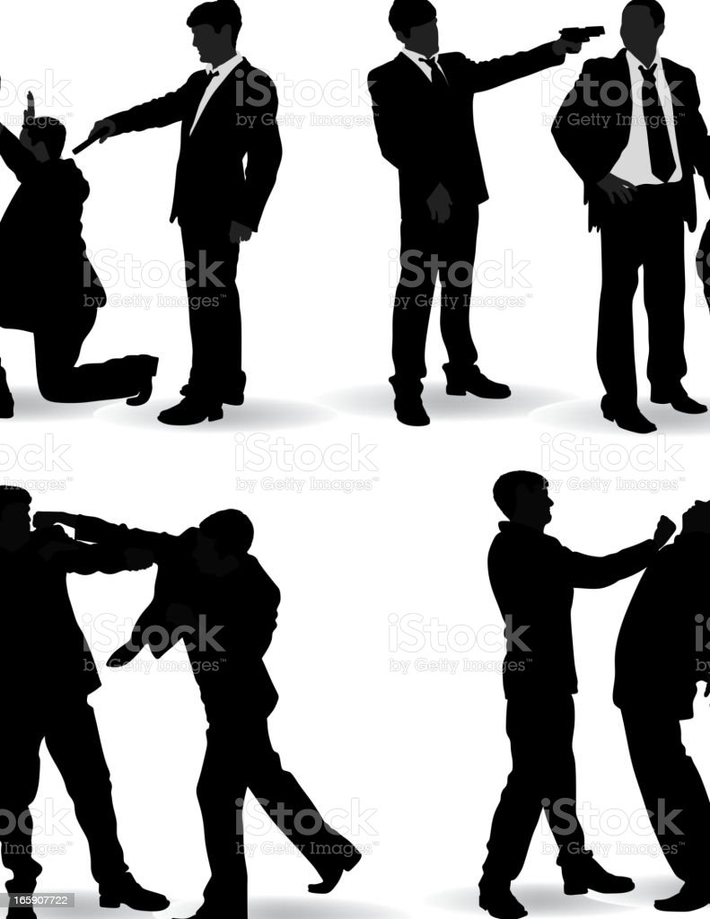 Fighting man silhouette vector art illustration