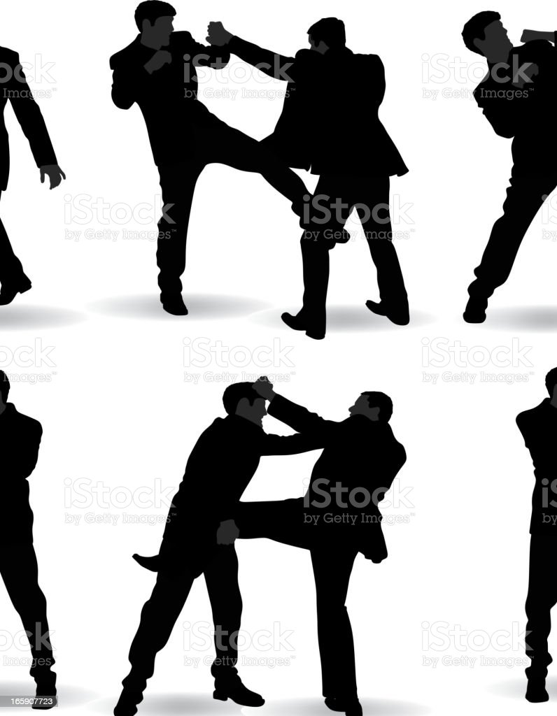 Fighting man silhouette royalty-free stock vector art