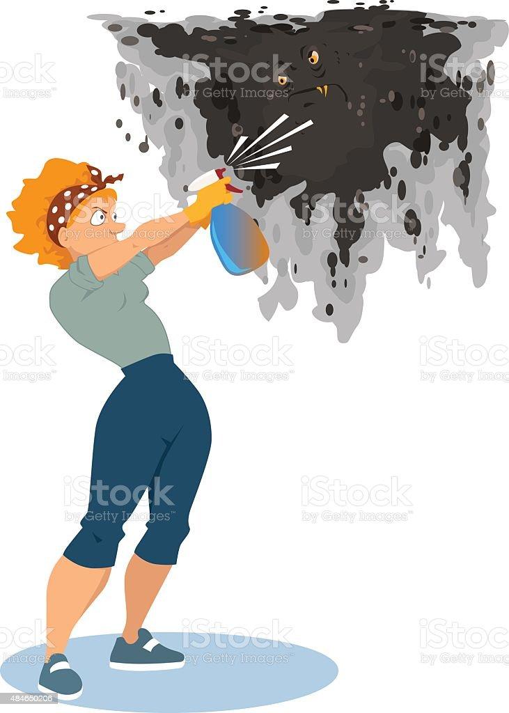 Fighting mildew in the house vector art illustration