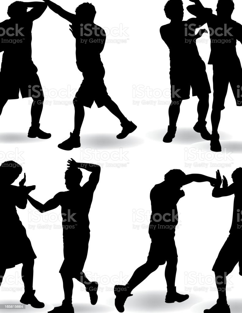 Fighting Silhouette vector art illustration