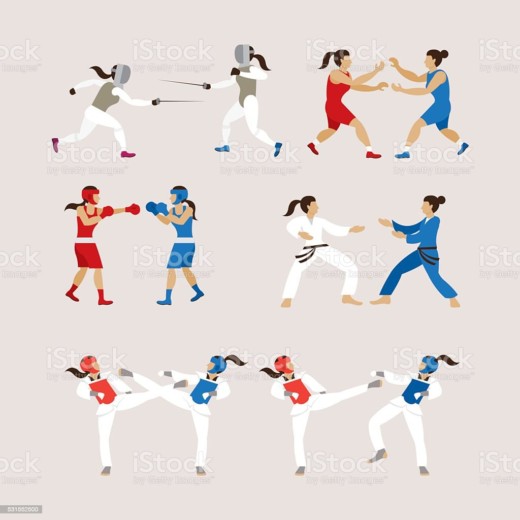 Fighting Sports Athletes, Women Set vector art illustration