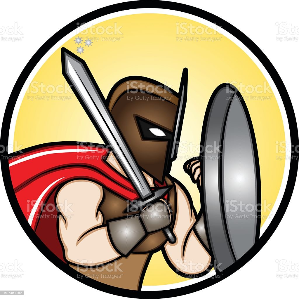 Fighting Stance Knight vector art illustration