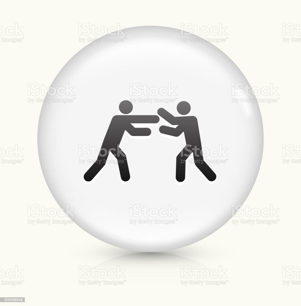 Fighting Stick Figures icon on white round vector button vector art illustration