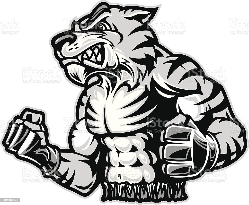 MMA Fighting Tiger B&W royalty-free stock vector art