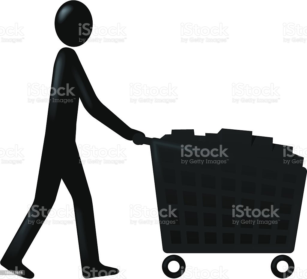 Figure and trolley full vector art illustration