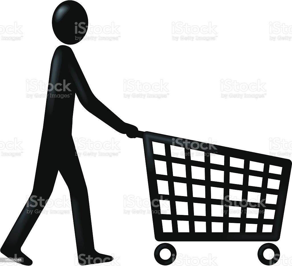 Figure and trolley vector art illustration