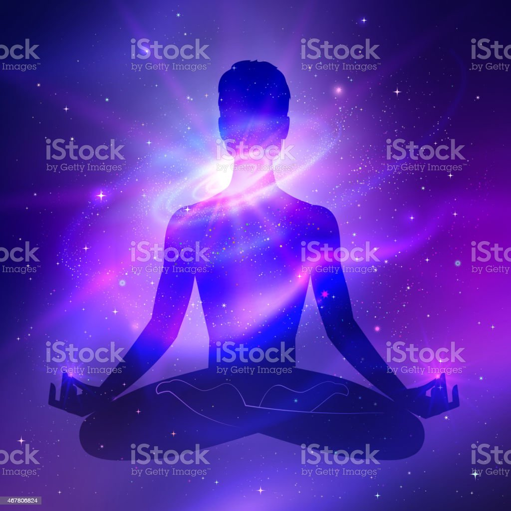 A figure in the Lotus position sits in a backdrop of stars  vector art illustration