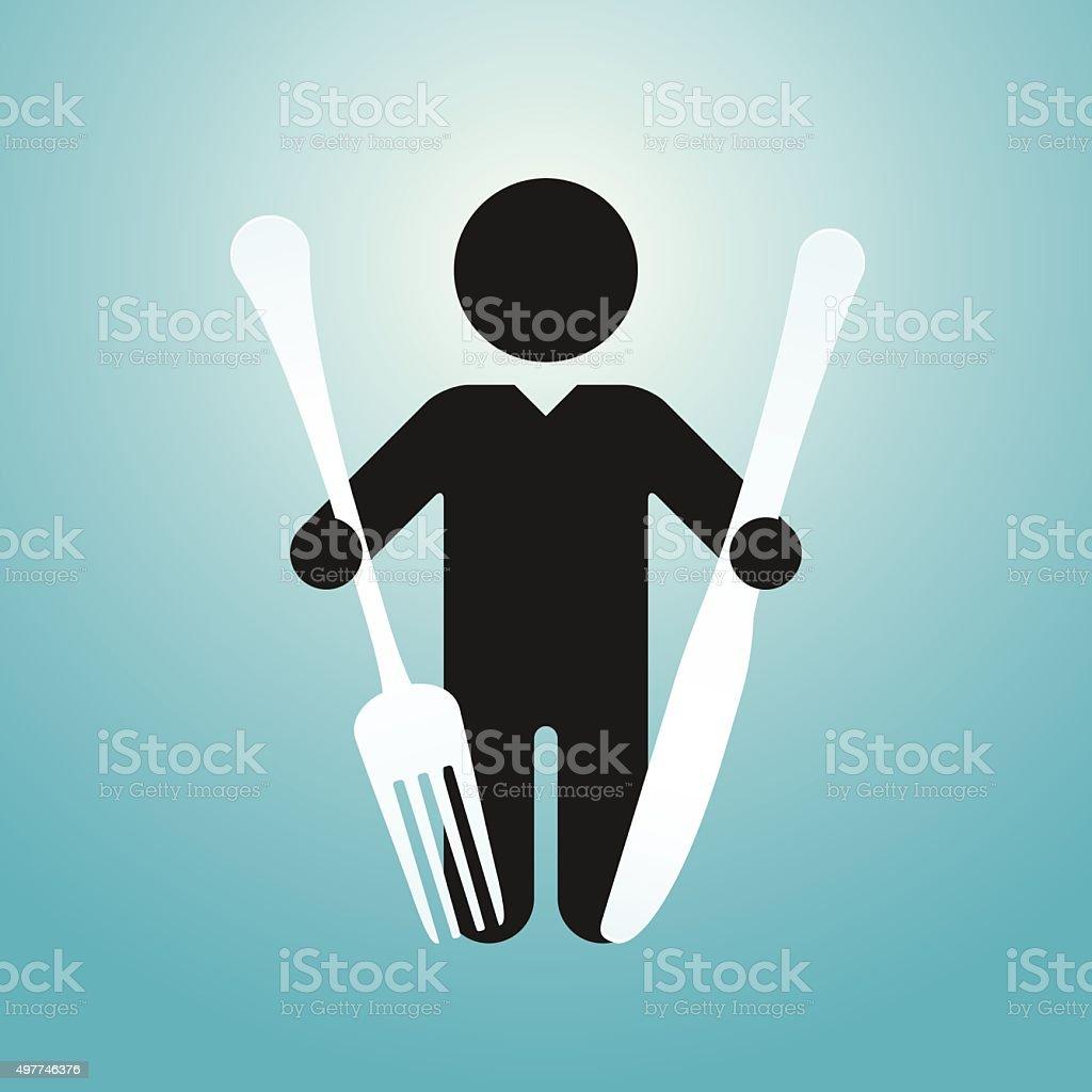 figure man holds knife and fork vector art illustration