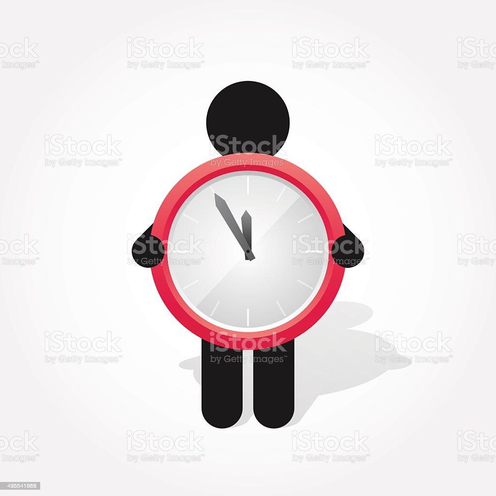 figure man holds Simple red clock vector art illustration