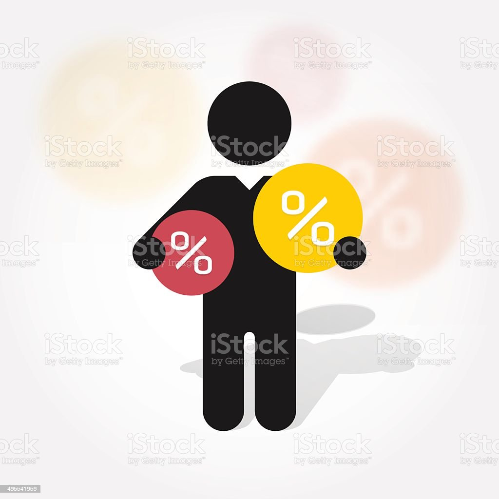 figure man holds symbol discounts vector art illustration