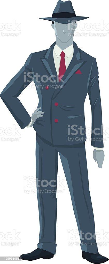 Figure of 40s anonymous fashionable gentleman royalty-free stock vector art