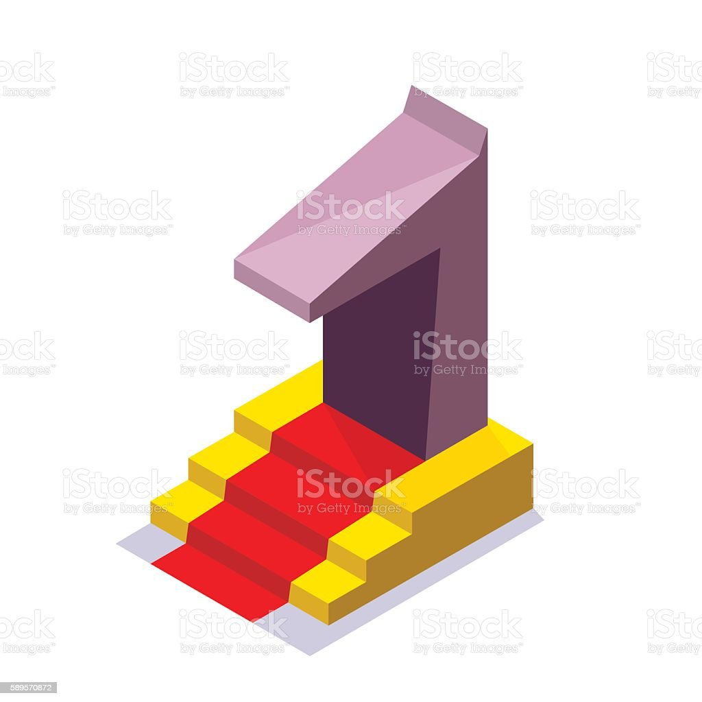 figure one on the pedestal on the red carpet royalty-free stock vector art