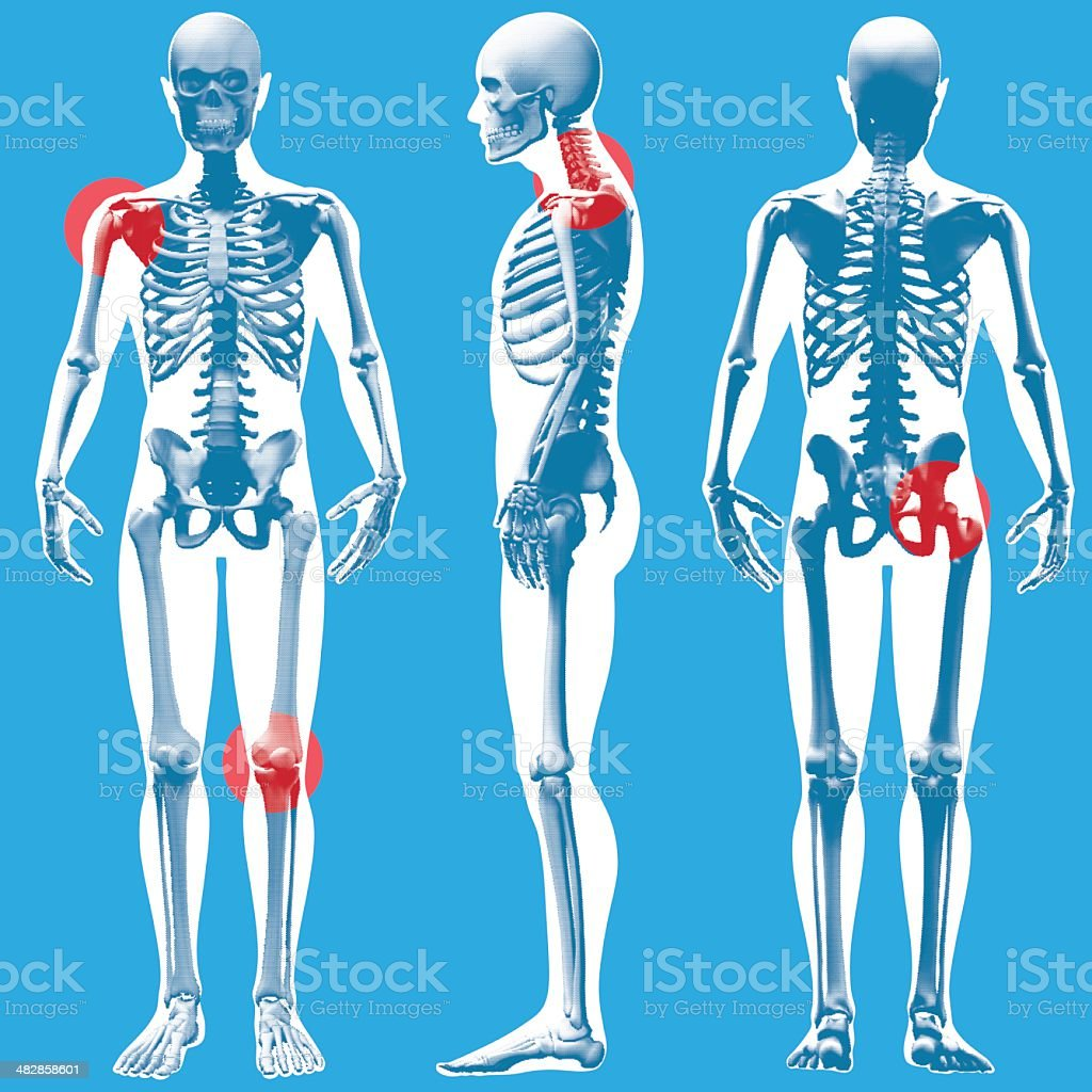 Figure Standing - Front, Side and Rear View (Dot-grid pattern) vector art illustration