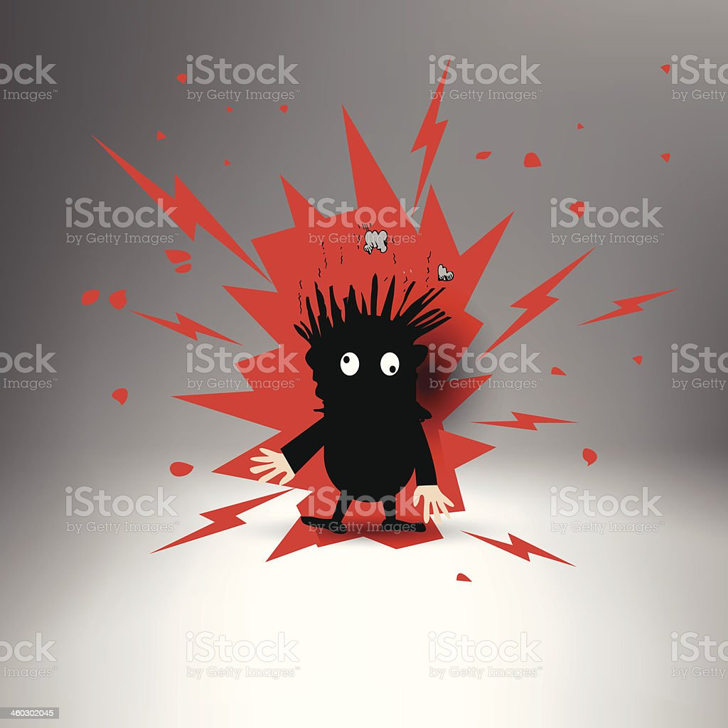 Figure with black body and red flashes after electric shock vector art illustration