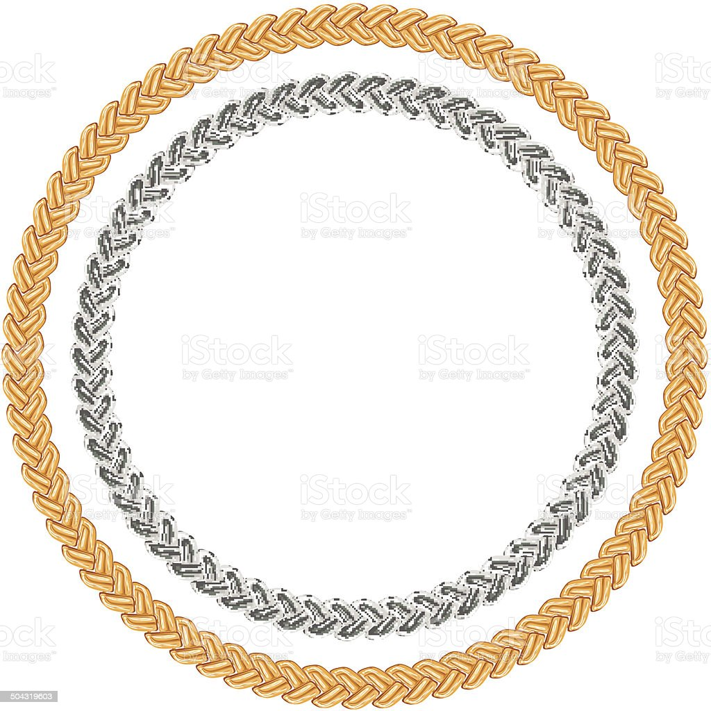 Figured gold and silver chain - round frame. vector art illustration
