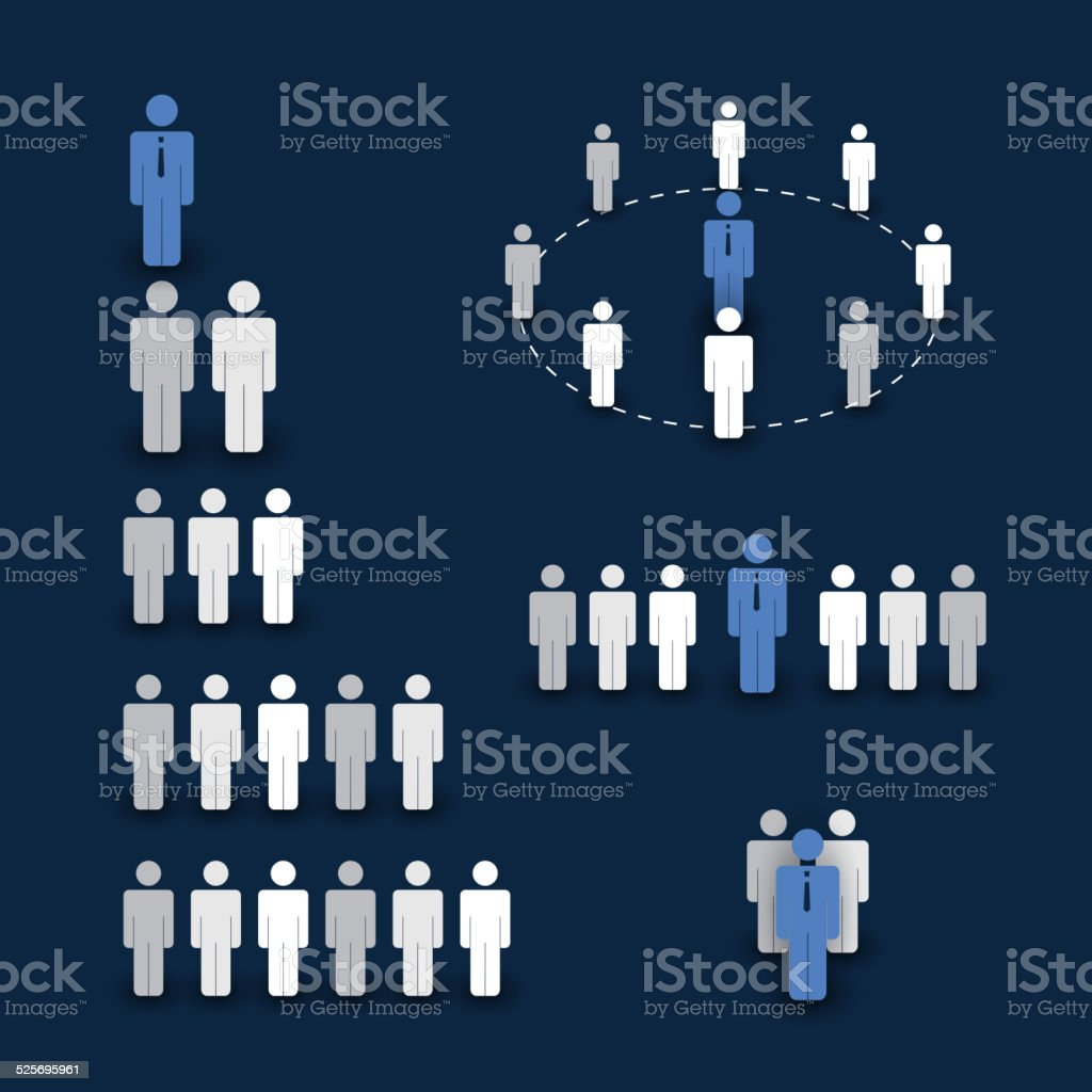 Figures and Icons - Business and Team Work Concept vector art illustration