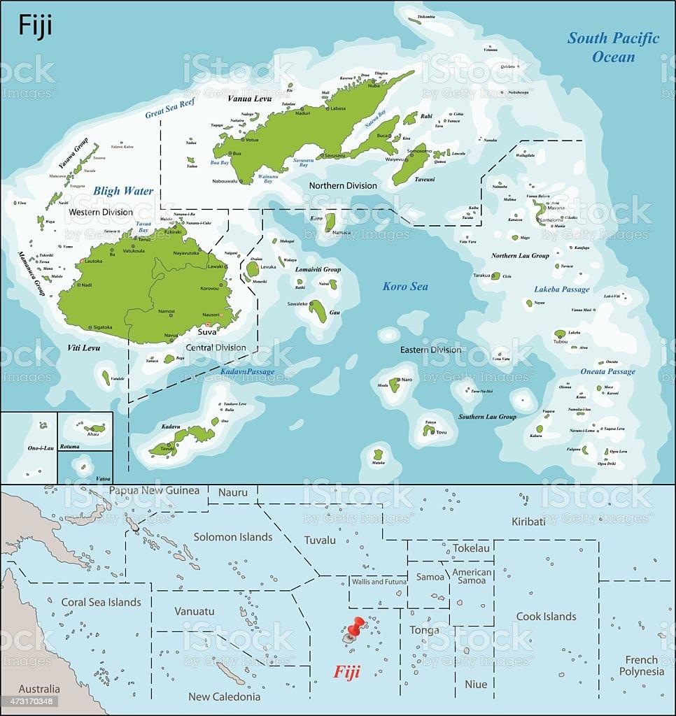Fiji map vector art illustration