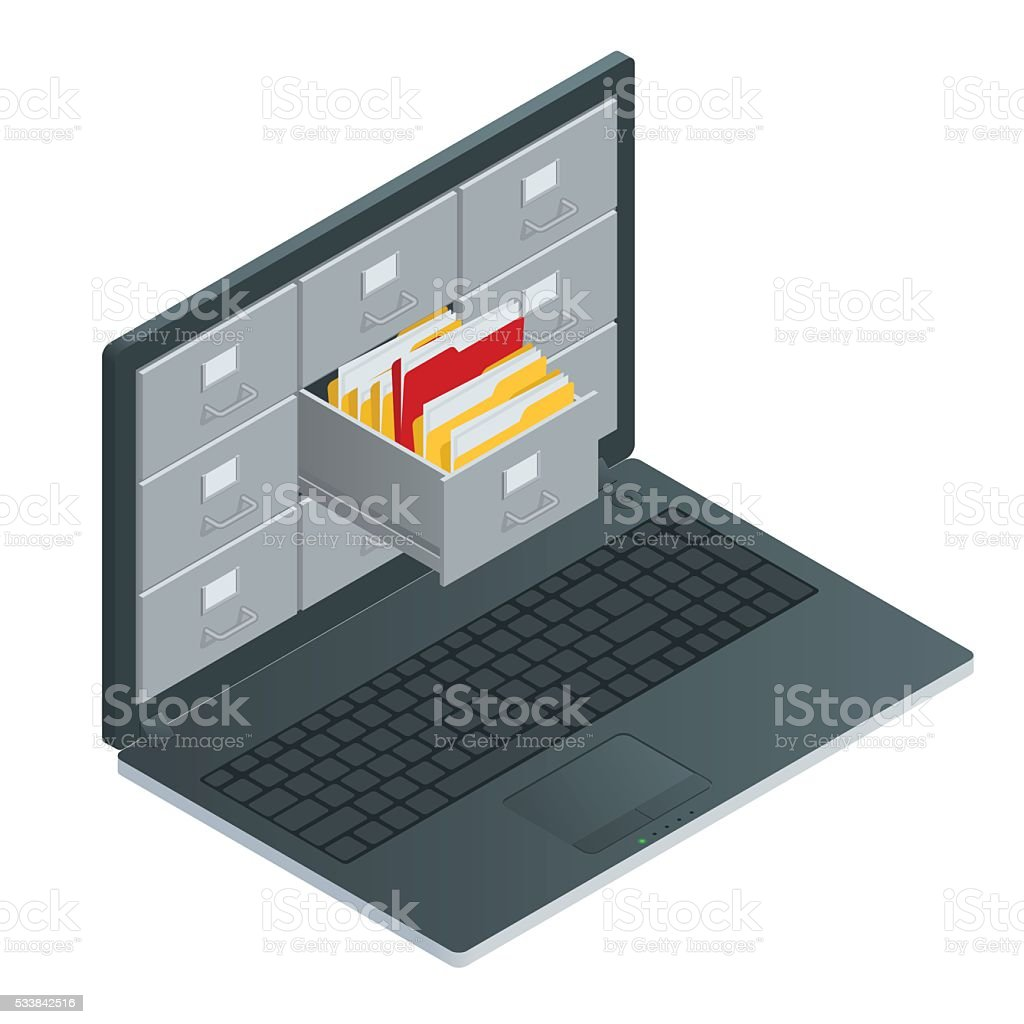 File cabinets inside the screen of laptop computer vector art illustration