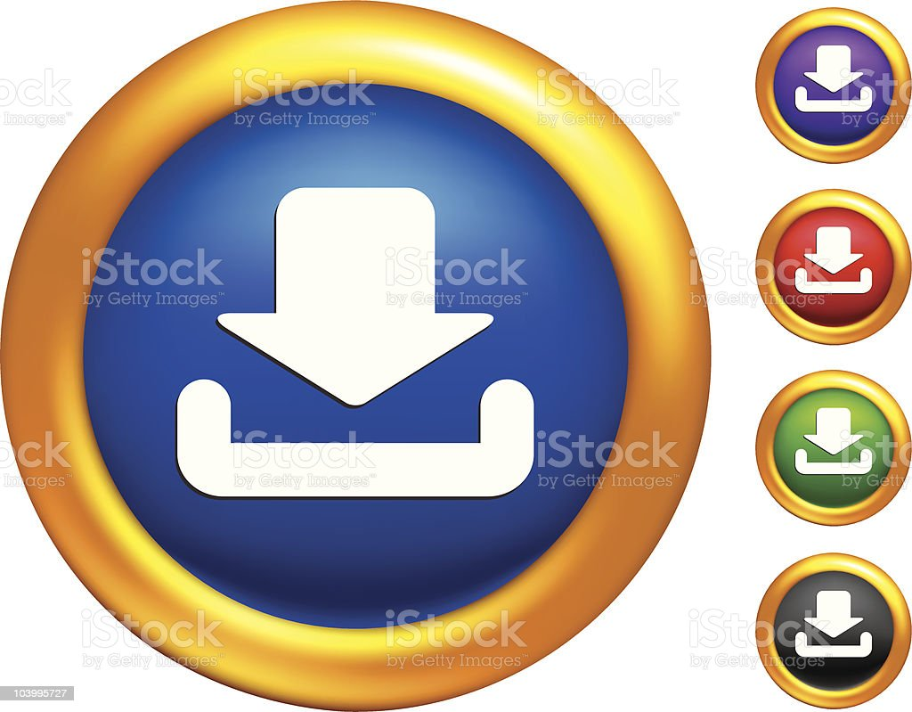 File download  icon on Illustrator Mesh buttons with golden borders royalty-free stock vector art