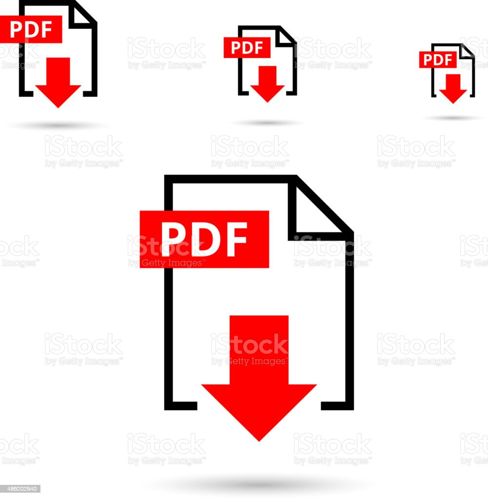 PDF file download icon vector art illustration