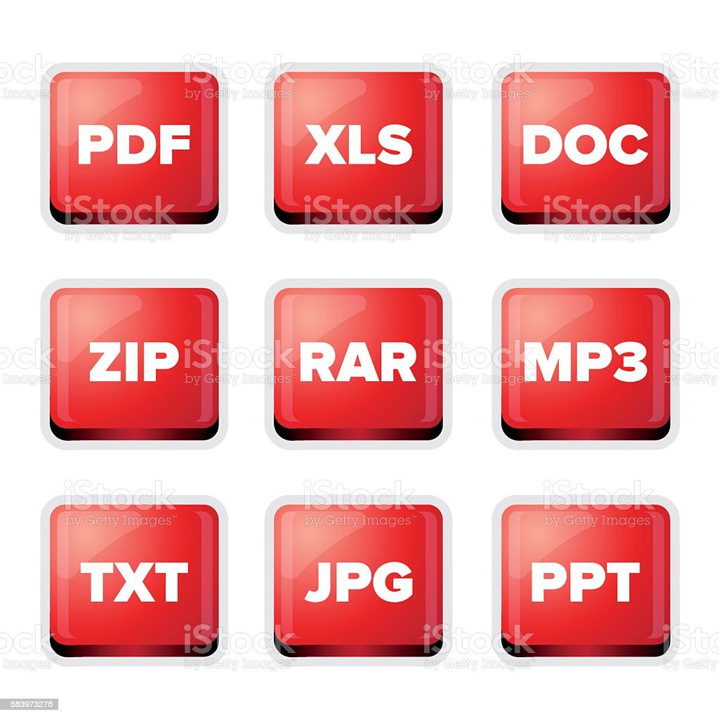 File extensions icons set vector art illustration