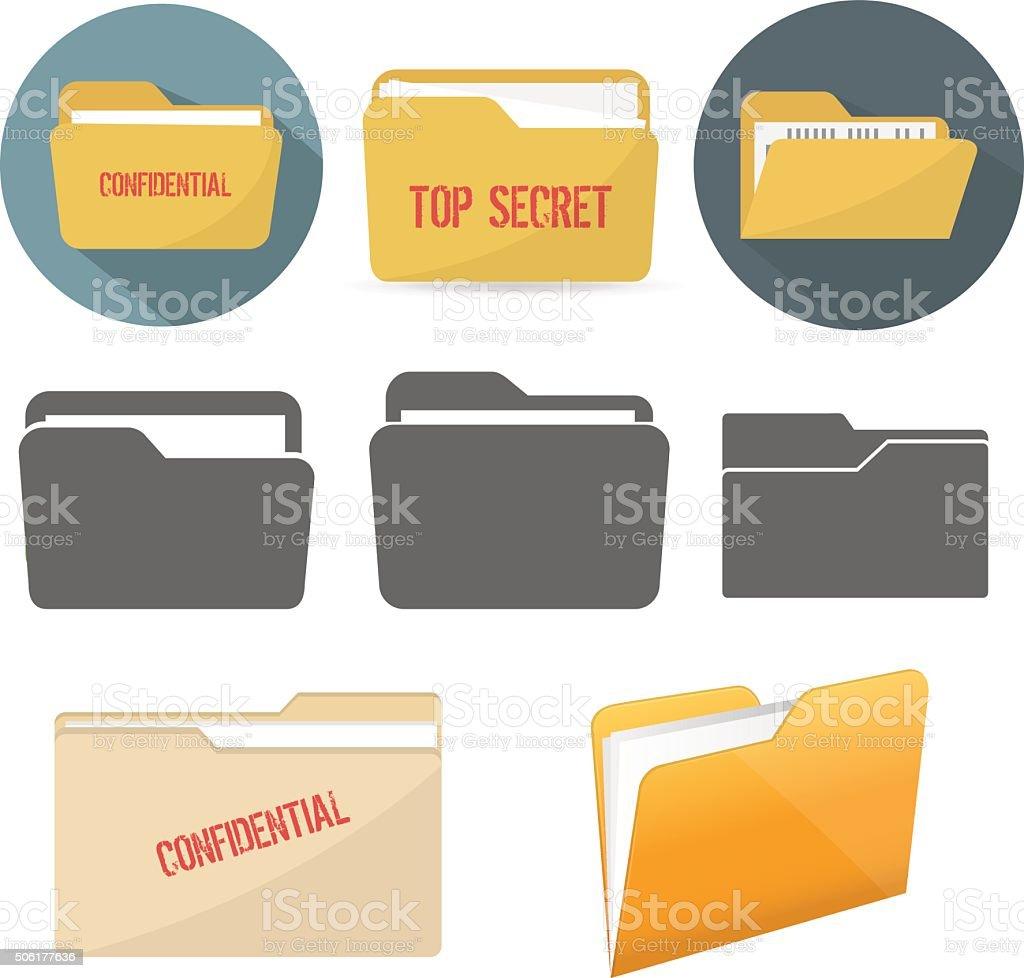 File folder icons vector art illustration