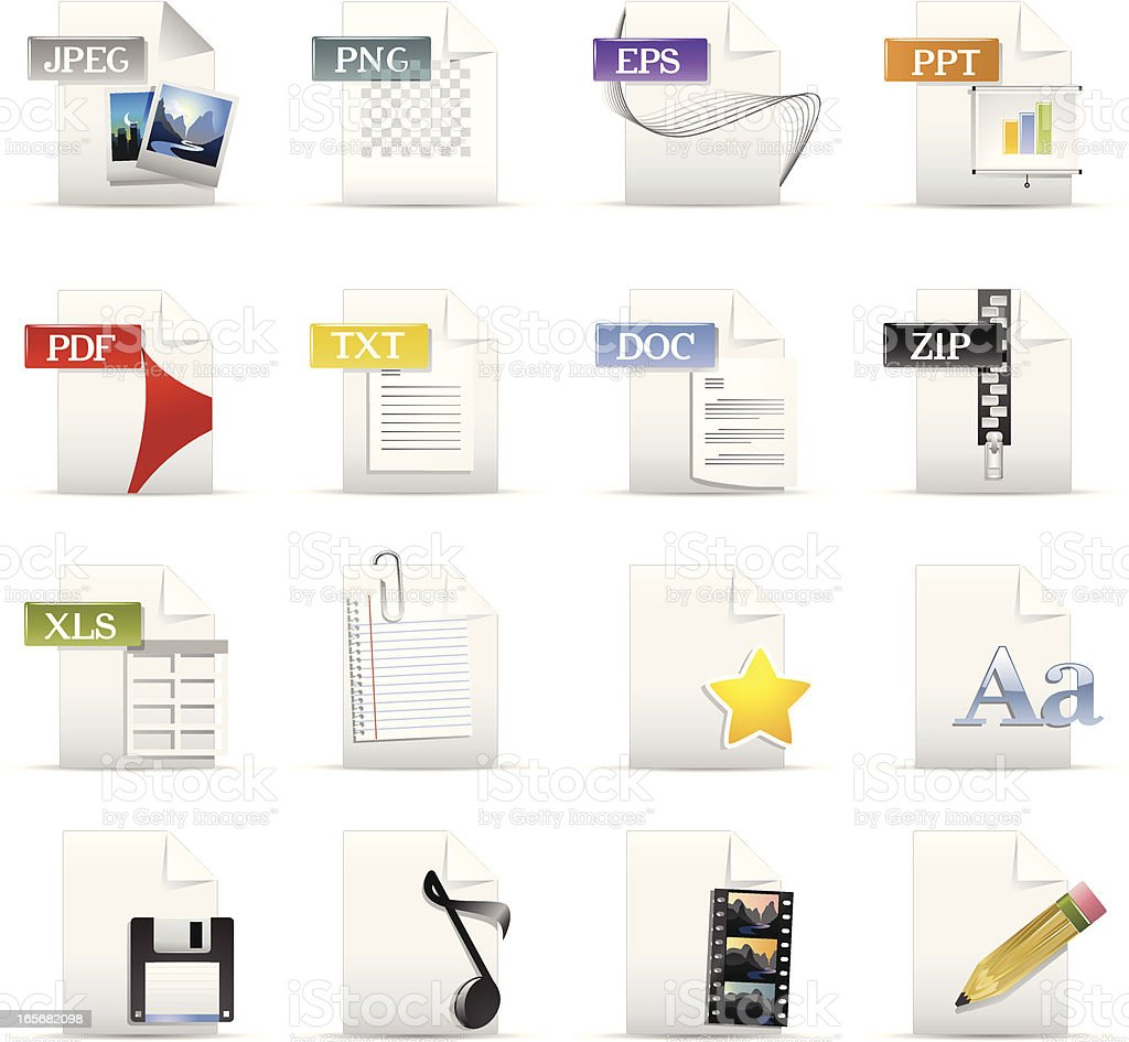 File Format and Document Icons vector art illustration