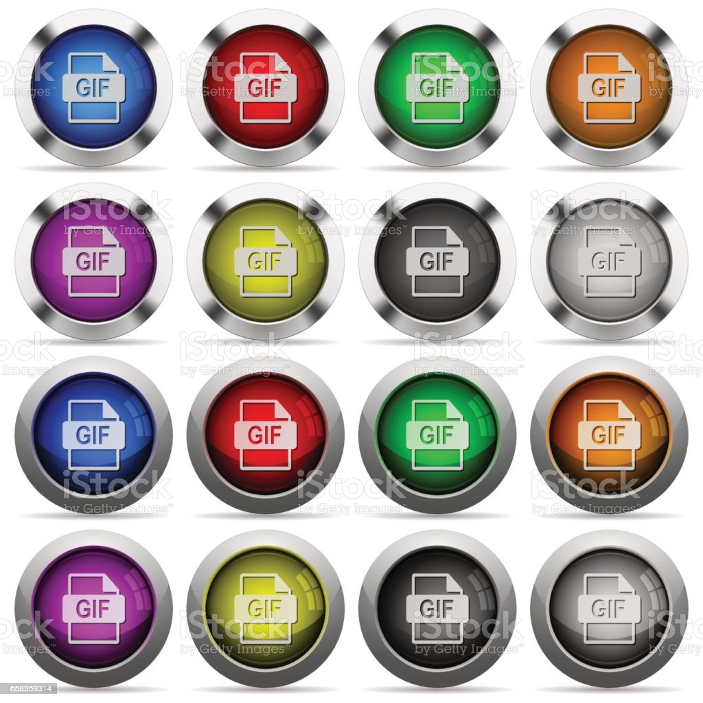 GIF file format button set vector art illustration