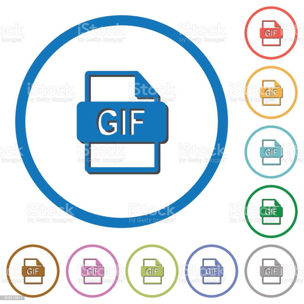 GIF file format icons with shadows and outlines vector art illustration