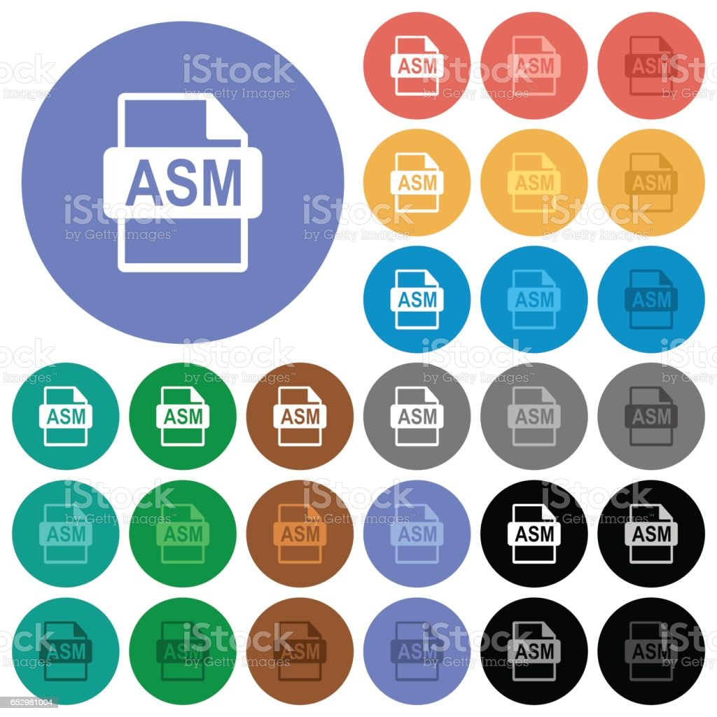 ASM file format round flat multi colored icons vector art illustration
